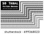 ethnic vector pattern brushes... | Shutterstock .eps vector #699368023