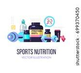 sports nutrition. fitness.... | Shutterstock .eps vector #699370450