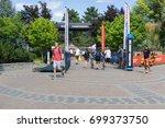 Small photo of Penticton, British Columbia, Canada - Athlete transition zone entrance and crews setting up for the 2017 Multisport World Championships being held between August 18 - 27.