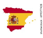 map shape flag of spain | Shutterstock .eps vector #699377428