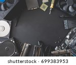 top view of computer parts with ... | Shutterstock . vector #699383953