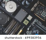 top view of computer parts with ... | Shutterstock . vector #699383956