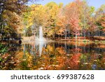 colorful autumn trees in the... | Shutterstock . vector #699387628