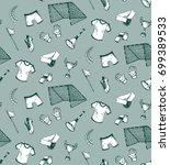 hand drawn seamless pattern... | Shutterstock .eps vector #699389533