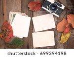 retro camera and empty old...   Shutterstock . vector #699394198