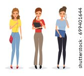 set of business woman in... | Shutterstock .eps vector #699401644