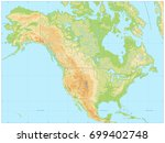 north america physical map. no... | Shutterstock .eps vector #699402748