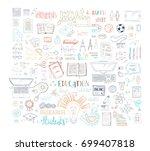 vector education   job doodles... | Shutterstock .eps vector #699407818
