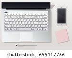 phone  the laptop and pencil... | Shutterstock .eps vector #699417766