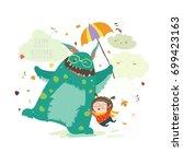 happy girl with her monster   Shutterstock .eps vector #699423163