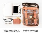 top view of leather bag and... | Shutterstock . vector #699429400