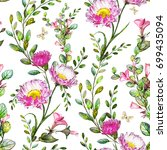 seamless pattern with pink... | Shutterstock . vector #699435094