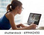 jobless woman searching work... | Shutterstock . vector #699442450