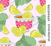seamless pattern with cups of... | Shutterstock .eps vector #699449398