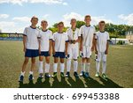 portrait of junior football... | Shutterstock . vector #699453388