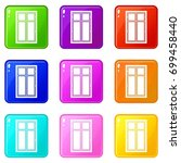 wooden window icons of 9 color... | Shutterstock . vector #699458440