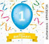 first birthday greeting card...   Shutterstock .eps vector #699458734