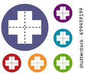 crossroad icons set in flat... | Shutterstock . vector #699459199
