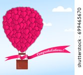 pink hearts on a balloon in a... | Shutterstock . vector #699465670