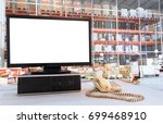 computer with blank screen on... | Shutterstock . vector #699468910