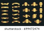 ribbons and badges gold color... | Shutterstock .eps vector #699472474
