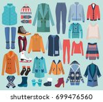 woman winter clothes and ... | Shutterstock .eps vector #699476560