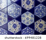 blue floral pattern mosaic wall