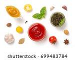 set of dip sauces in bowl... | Shutterstock . vector #699483784