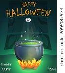 halloween festive poster card ... | Shutterstock .eps vector #699485974