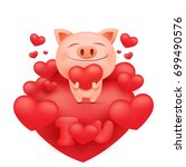 funny pink pig cartoon... | Shutterstock .eps vector #699490576