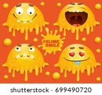 set of yellow slime smile... | Shutterstock .eps vector #699490720