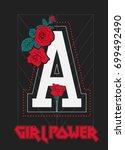 rock print and slogan in vector. | Shutterstock .eps vector #699492490