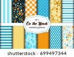 cute set of summer time vintage ... | Shutterstock .eps vector #699497344
