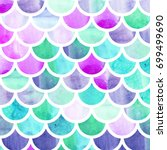 mermaid scales. watercolor fish ... | Shutterstock . vector #699499690