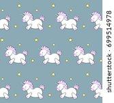 cute cartoon unicorn and stars...   Shutterstock .eps vector #699514978