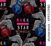 embroidery guitar with wings... | Shutterstock .eps vector #699515980