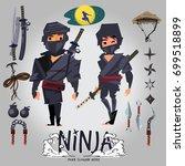 ninja male and female character ... | Shutterstock .eps vector #699518899