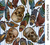 color feathers and indian skull ... | Shutterstock .eps vector #699519298