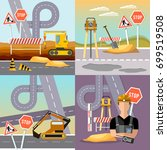 road construction and road... | Shutterstock .eps vector #699519508
