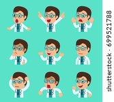 cartoon male doctor faces... | Shutterstock .eps vector #699521788