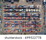 aerial view of cargo ship ... | Shutterstock . vector #699522778