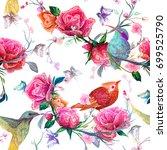 vintage seamless pattern  bird  ... | Shutterstock .eps vector #699525790