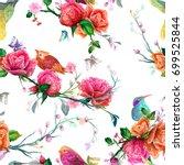 vintage seamless pattern  bird  ... | Shutterstock .eps vector #699525844
