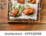 excuisite restaurant food.... | Shutterstock . vector #699528988
