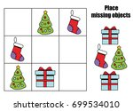 place missing objects in grid.... | Shutterstock .eps vector #699534010