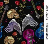 embroidery rock music seamless...