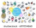fruits   hand drawn vector set. ... | Shutterstock .eps vector #699554860