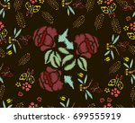 embroidery stitches with roses  ... | Shutterstock .eps vector #699555919
