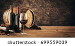 wine glass  wooden barrel and... | Shutterstock . vector #699559039