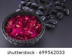 Spa. Red Rose Petals In A Black ...